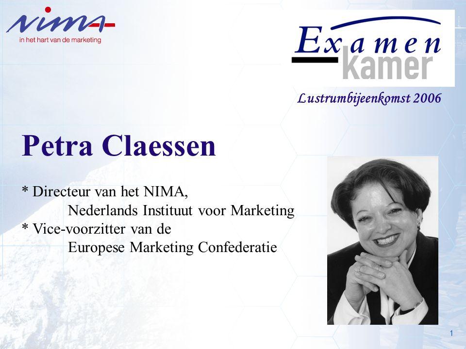 1 Lustrumbijeenkomst 2006 Petra Claessen * Directeur van het NIMA, Nederlands Instituut voor Marketing * Vice-voorzitter van de Europese Marketing Confederatie