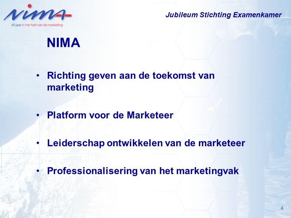 4 NIMA Richting geven aan de toekomst van marketing Platform voor de Marketeer Leiderschap ontwikkelen van de marketeer Professionalisering van het marketingvak Jubileum Stichting Examenkamer