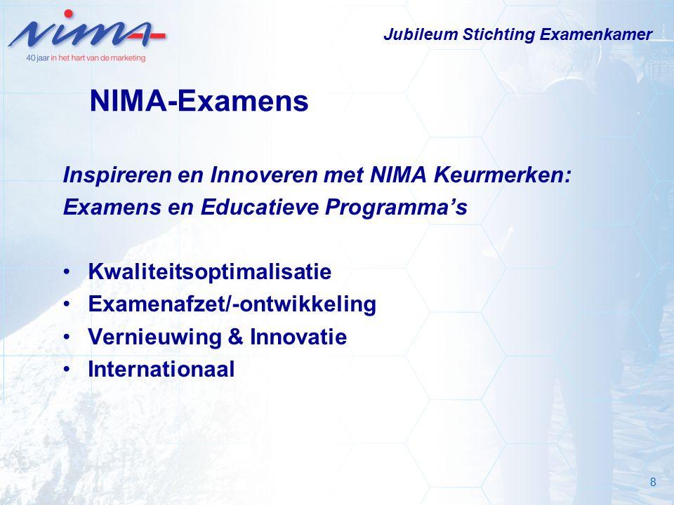 8 NIMA-Examens Inspireren en Innoveren met NIMA Keurmerken: Examens en Educatieve Programma's Kwaliteitsoptimalisatie Examenafzet/-ontwikkeling Vernieuwing & Innovatie Internationaal Jubileum Stichting Examenkamer