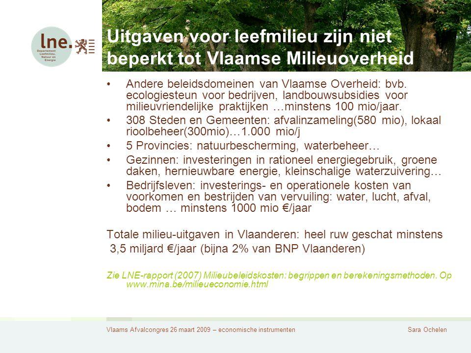 Vlaams Afvalcongres 26 maart 2009 – economische instrumentenSara Ochelen Uitgaven voor leefmilieu zijn niet beperkt tot Vlaamse Milieuoverheid Andere beleidsdomeinen van Vlaamse Overheid: bvb.