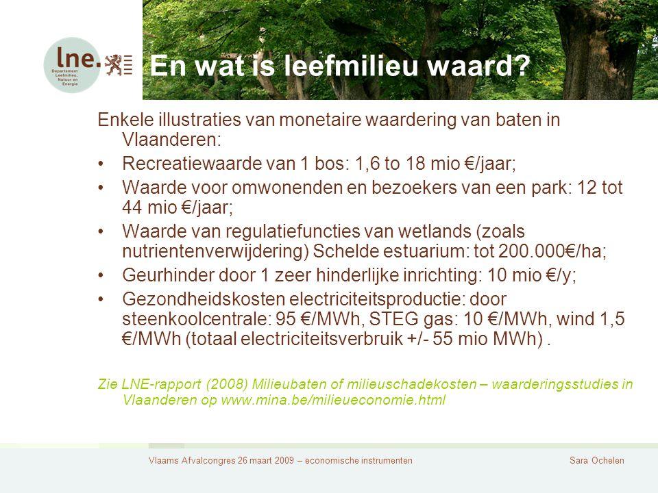 Vlaams Afvalcongres 26 maart 2009 – economische instrumentenSara Ochelen En wat is leefmilieu waard.