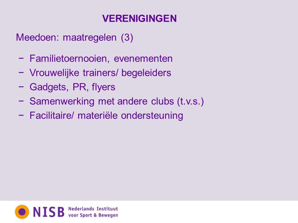 VERENIGINGEN −Familietoernooien, evenementen −Vrouwelijke trainers/ begeleiders −Gadgets, PR, flyers −Samenwerking met andere clubs (t.v.s.) −Facilitaire/ materiële ondersteuning Meedoen: maatregelen (3)