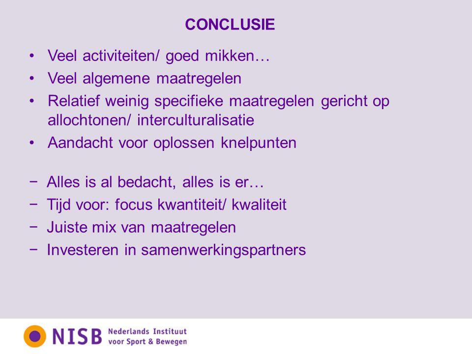CONCLUSIE −Alles is al bedacht, alles is er… −Tijd voor: focus kwantiteit/ kwaliteit −Juiste mix van maatregelen −Investeren in samenwerkingspartners