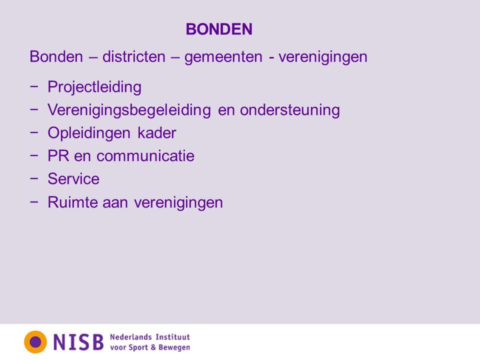 BONDEN −Projectleiding −Verenigingsbegeleiding en ondersteuning −Opleidingen kader −PR en communicatie −Service −Ruimte aan verenigingen Bonden – districten – gemeenten - verenigingen
