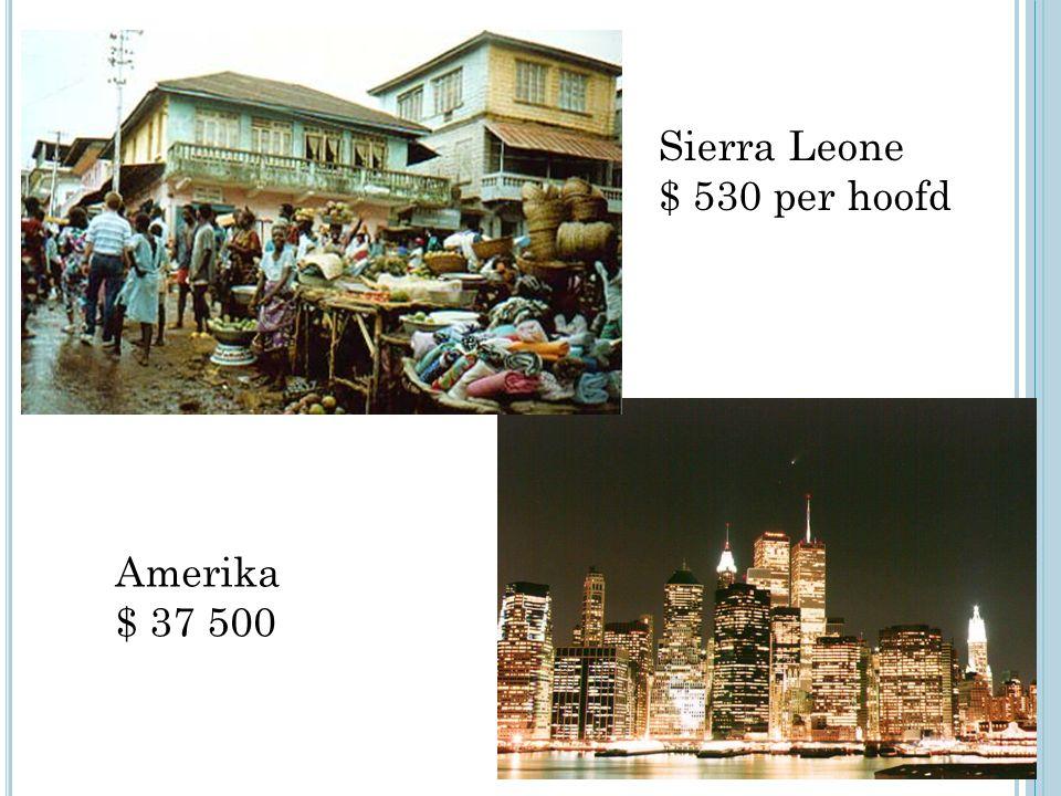 Sierra Leone $ 530 per hoofd Amerika $ 37 500