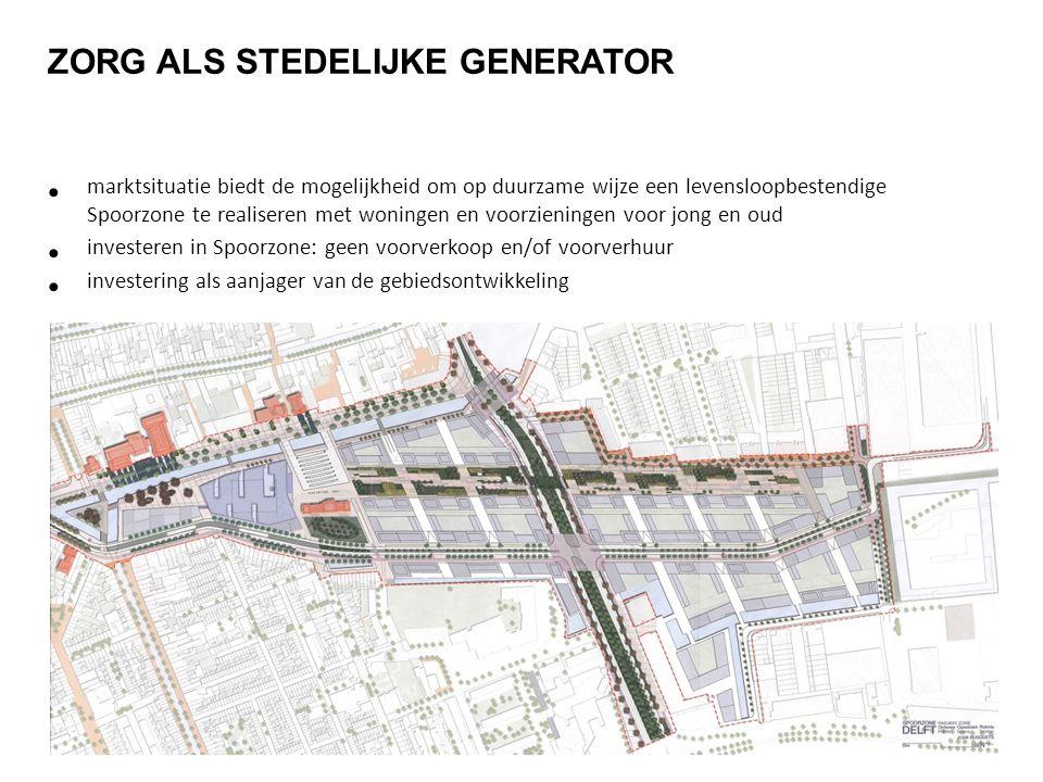 ZORG ALS STEDELIJKE GENERATOR marktsituatie biedt de mogelijkheid om op duurzame wijze een levensloopbestendige Spoorzone te realiseren met woningen e