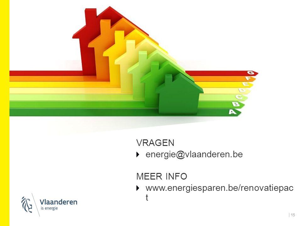 VRAGEN energie@vlaanderen.be MEER INFO www.energiesparen.be/renovatiepac t │15