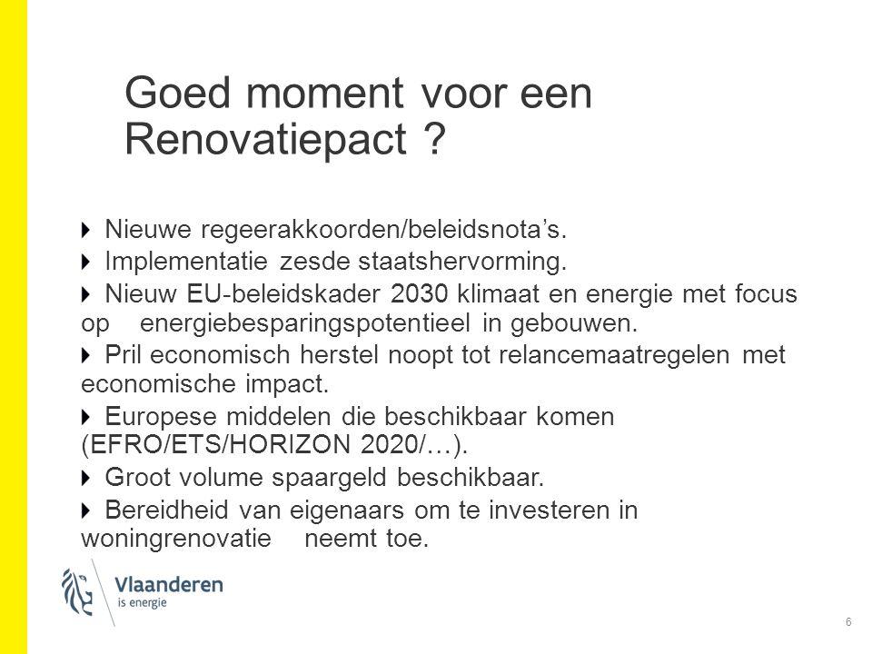 Goed moment voor een Renovatiepact ? Nieuwe regeerakkoorden/beleidsnota's. Implementatie zesde staatshervorming. Nieuw EU-beleidskader 2030 klimaat en