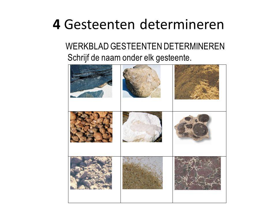 WERKBLAD GESTEENTEN DETERMINEREN Schrijf de naam onder elk gesteente.