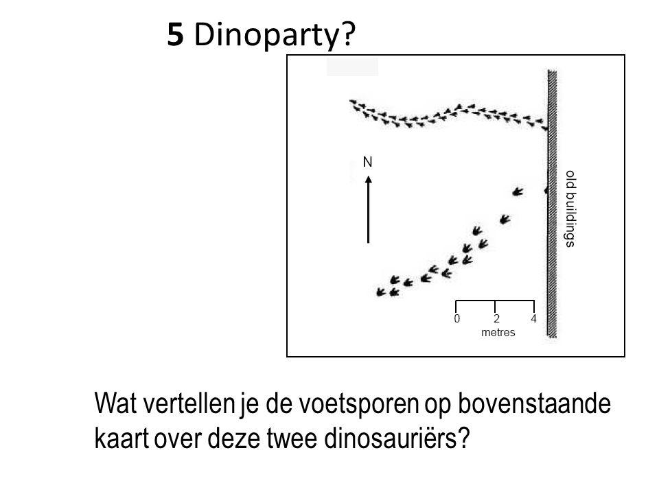 5 Dinoparty? Wat vertellen je de voetsporen op bovenstaande kaart over deze twee dinosauriërs?