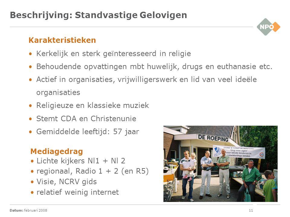 Datum: februari 200812 Beschrijving: Gemakzoekende Burgers Karakteristieken Weinig interesses en waarden.