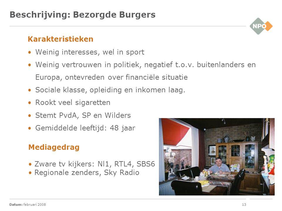 Datum: februari 200813 Beschrijving: Bezorgde Burgers Karakteristieken Weinig interesses, wel in sport Weinig vertrouwen in politiek, negatief t.o.v.