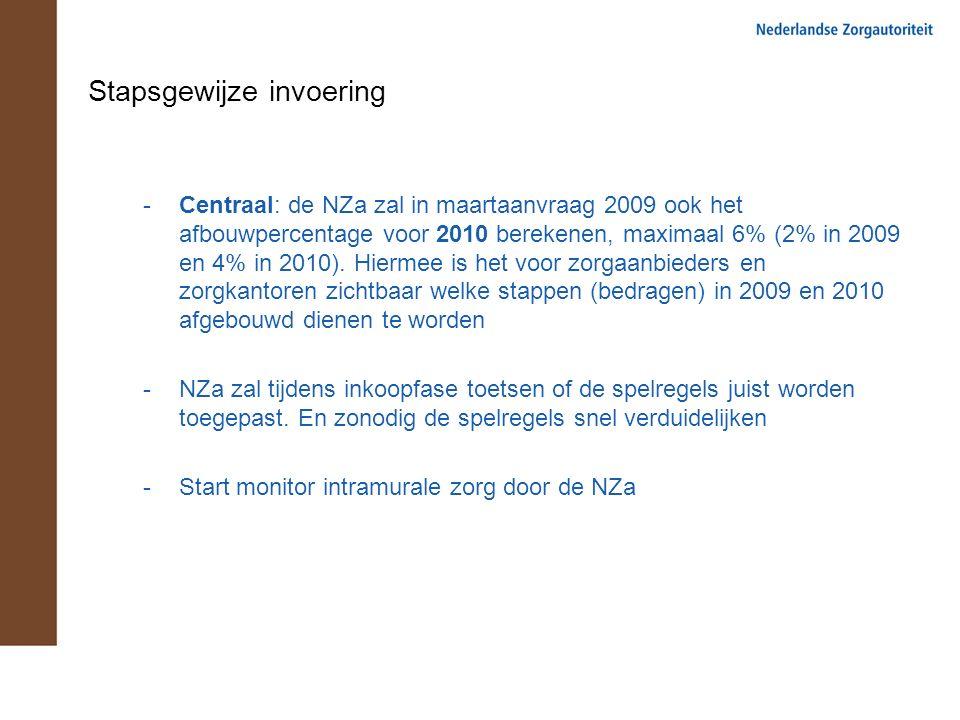 Stapsgewijze invoering -Centraal: de NZa zal in maartaanvraag 2009 ook het afbouwpercentage voor 2010 berekenen, maximaal 6% (2% in 2009 en 4% in 2010).