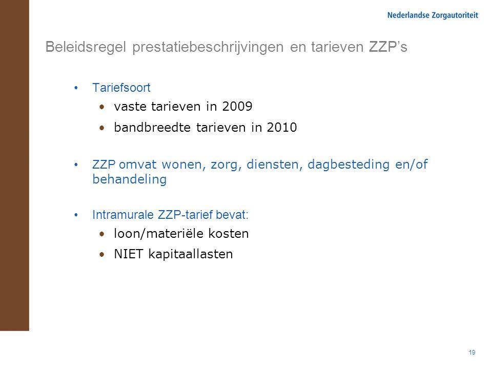 19 Beleidsregel prestatiebeschrijvingen en tarieven ZZP's Tariefsoort vaste tarieven in 2009 bandbreedte tarieven in 2010 ZZP o mvat wonen, zorg, dien