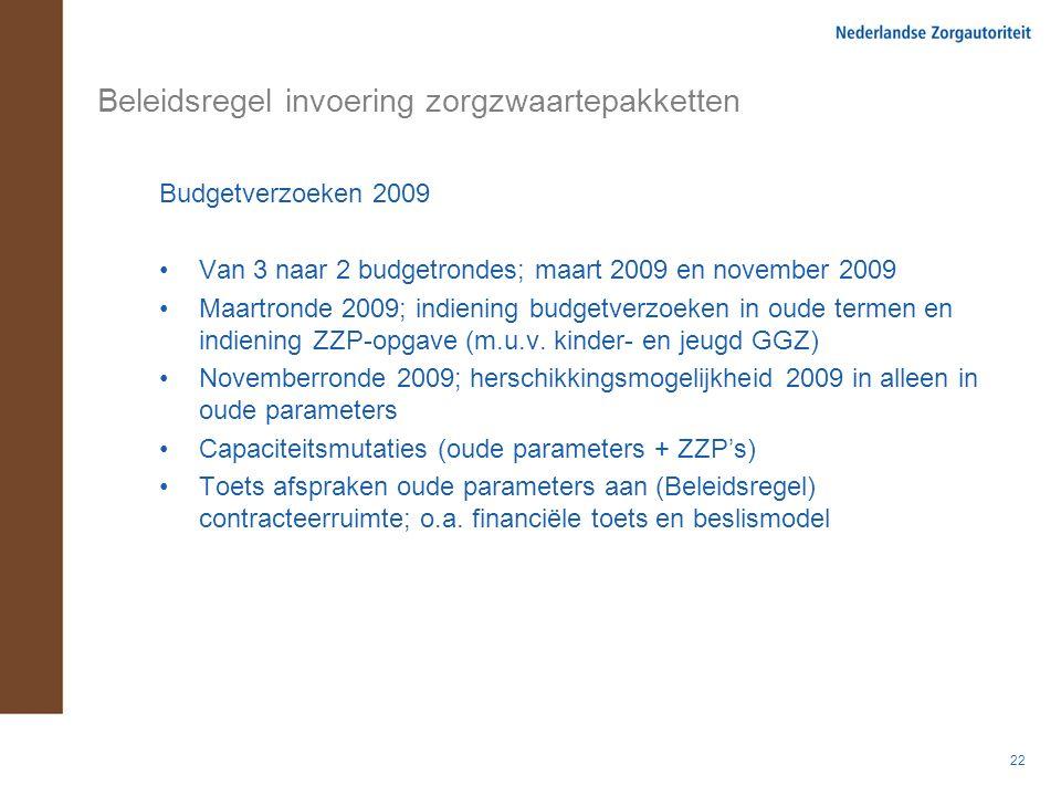 22 Beleidsregel invoering zorgzwaartepakketten Budgetverzoeken 2009 Van 3 naar 2 budgetrondes; maart 2009 en november 2009 Maartronde 2009; indiening budgetverzoeken in oude termen en indiening ZZP-opgave (m.u.v.