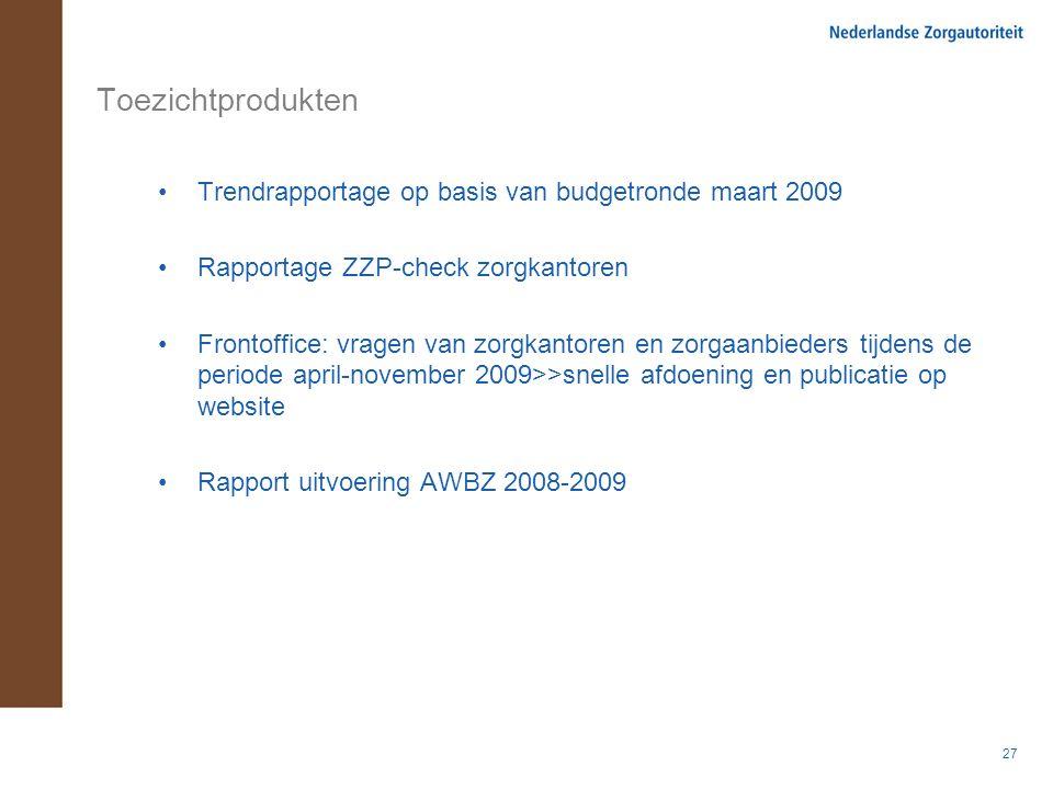 27 Toezichtprodukten Trendrapportage op basis van budgetronde maart 2009 Rapportage ZZP-check zorgkantoren Frontoffice: vragen van zorgkantoren en zor