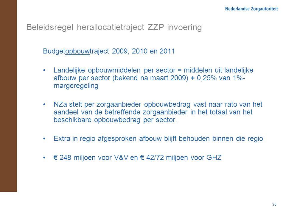 30 Beleidsregel herallocatietraject ZZP-invoering Budgetopbouwtraject 2009, 2010 en 2011 Landelijke opbouwmiddelen per sector = middelen uit landelijk