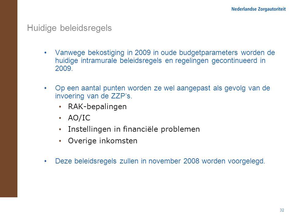 32 Huidige beleidsregels Vanwege bekostiging in 2009 in oude budgetparameters worden de huidige intramurale beleidsregels en regelingen gecontinueerd in 2009.