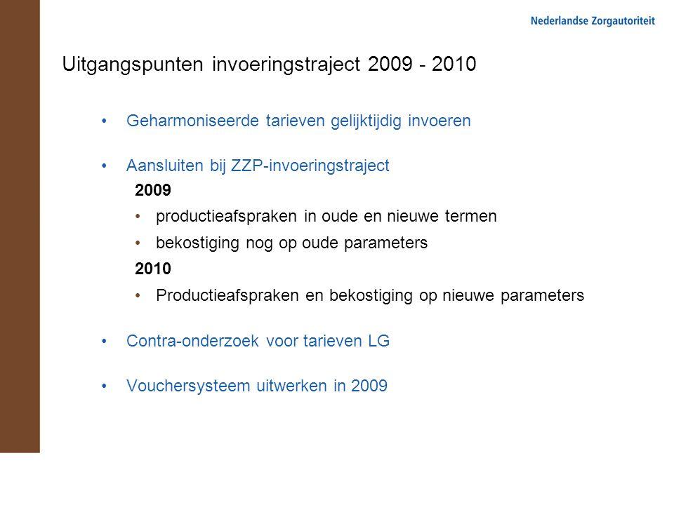 Uitgangspunten invoeringstraject 2009 - 2010 Geharmoniseerde tarieven gelijktijdig invoeren Aansluiten bij ZZP-invoeringstraject 2009 productieafsprak