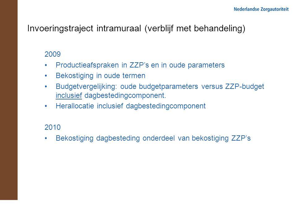 Invoeringstraject intramuraal (verblijf met behandeling) 2009 Productieafspraken in ZZP's en in oude parameters Bekostiging in oude termen Budgetvergelijking: oude budgetparameters versus ZZP-budget inclusief dagbestedingcomponent.