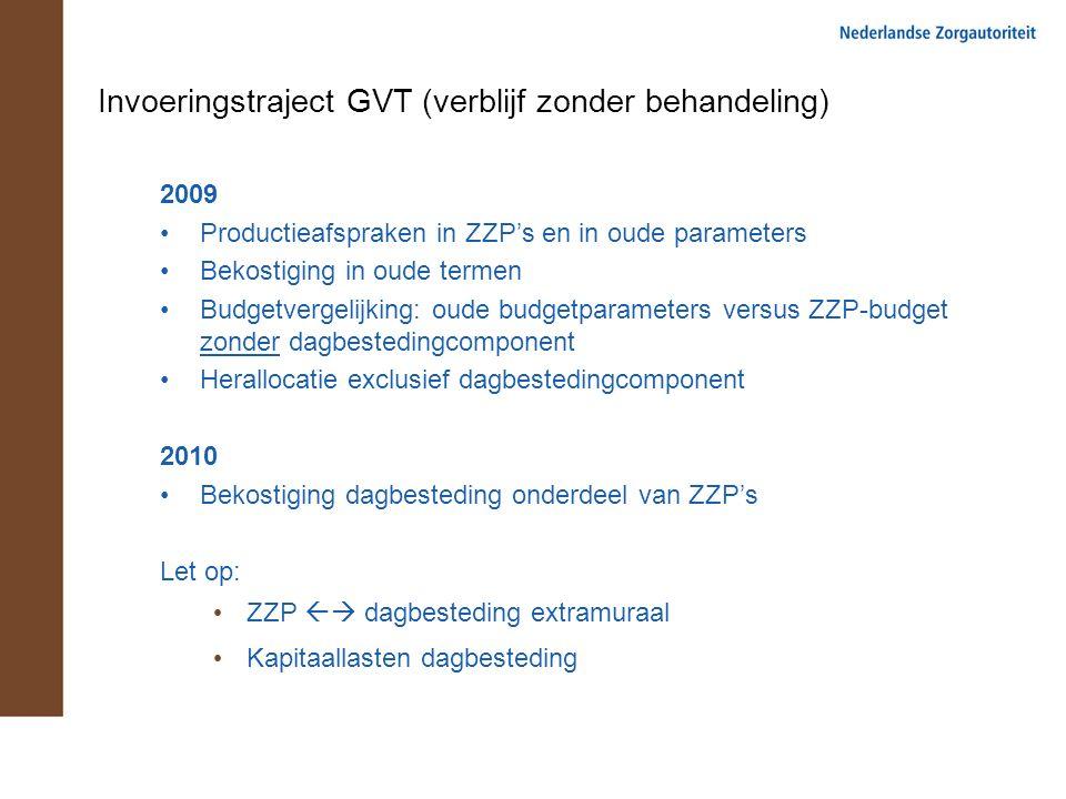 Invoeringstraject GVT (verblijf zonder behandeling) 2009 Productieafspraken in ZZP's en in oude parameters Bekostiging in oude termen Budgetvergelijki