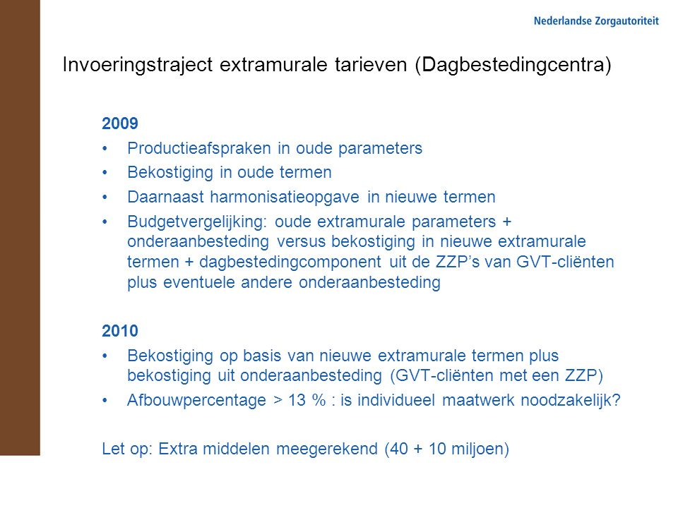 Invoeringstraject extramurale tarieven (Dagbestedingcentra) 2009 Productieafspraken in oude parameters Bekostiging in oude termen Daarnaast harmonisat