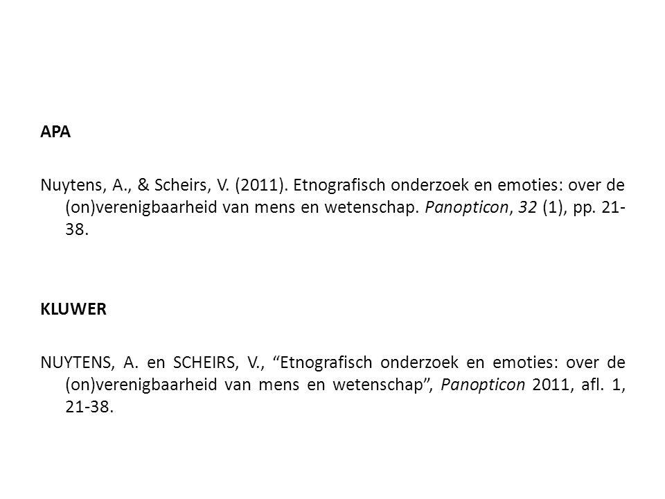 APA Nuytens, A., & Scheirs, V. (2011). Etnografisch onderzoek en emoties: over de (on)verenigbaarheid van mens en wetenschap. Panopticon, 32 (1), pp.