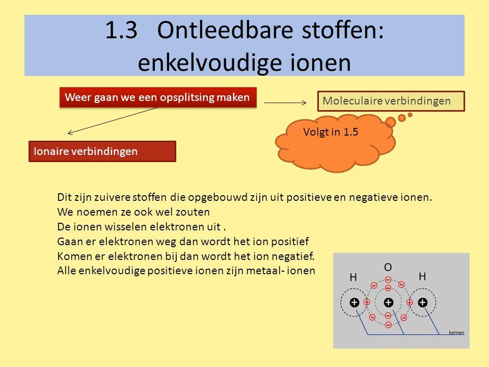 1.3 Ontleedbare stoffen: enkelvoudige ionen Weer gaan we een opsplitsing maken Ionaire verbindingen Moleculaire verbindingen Dit zijn zuivere stoffen die opgebouwd zijn uit positieve en negatieve ionen.