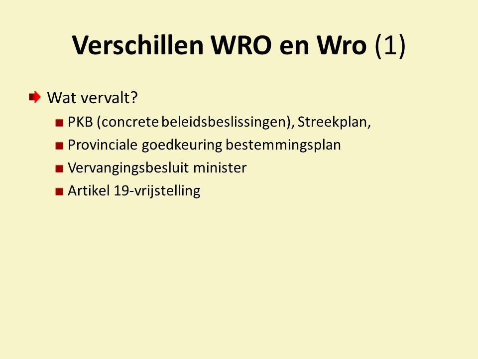 Verschillen WRO en Wro (2) Nieuwe instrumenten Provincie Verordeningsbevoegdheid T.b.v.
