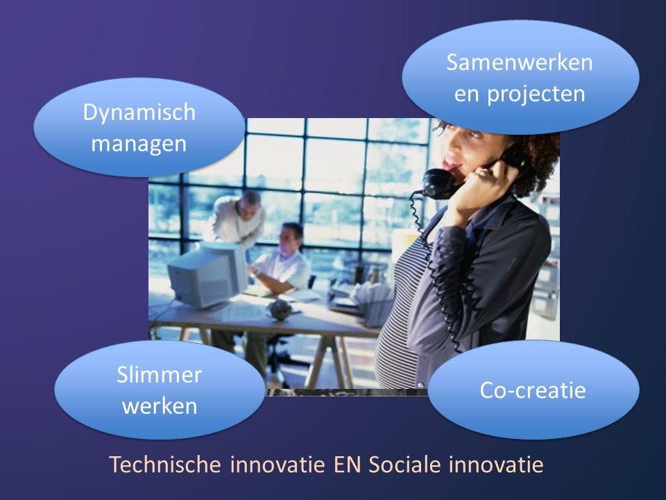 Dynamisch managen Samenwerken en projecten Slimmer werken Co-creatie Technische innovatie EN Sociale innovatie