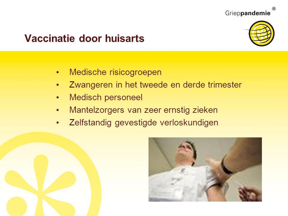 Vaccinatie door huisarts Medische risicogroepen Zwangeren in het tweede en derde trimester Medisch personeel Mantelzorgers van zeer ernstig zieken Zelfstandig gevestigde verloskundigen