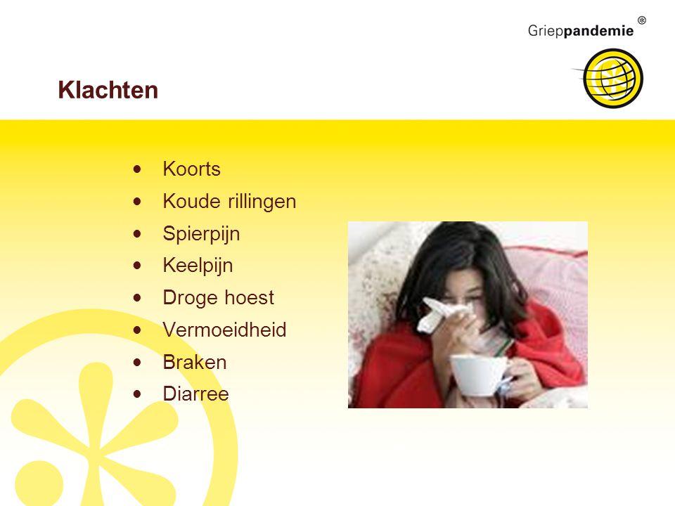 Klachten Koorts Koude rillingen Spierpijn Keelpijn Droge hoest Vermoeidheid Braken Diarree