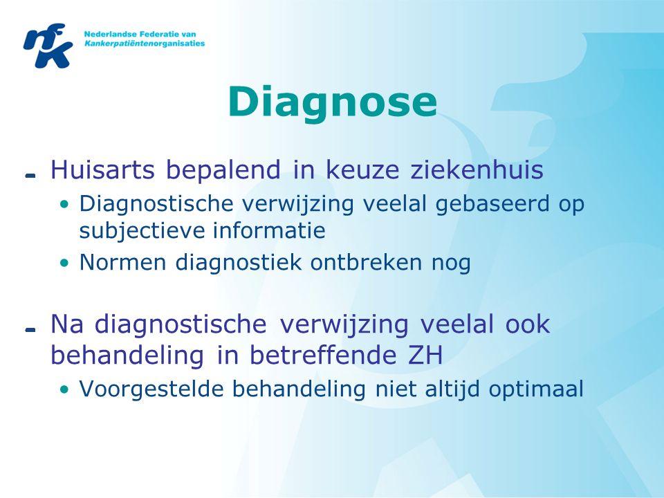 Diagnose Huisarts bepalend in keuze ziekenhuis Diagnostische verwijzing veelal gebaseerd op subjectieve informatie Normen diagnostiek ontbreken nog Na diagnostische verwijzing veelal ook behandeling in betreffende ZH Voorgestelde behandeling niet altijd optimaal