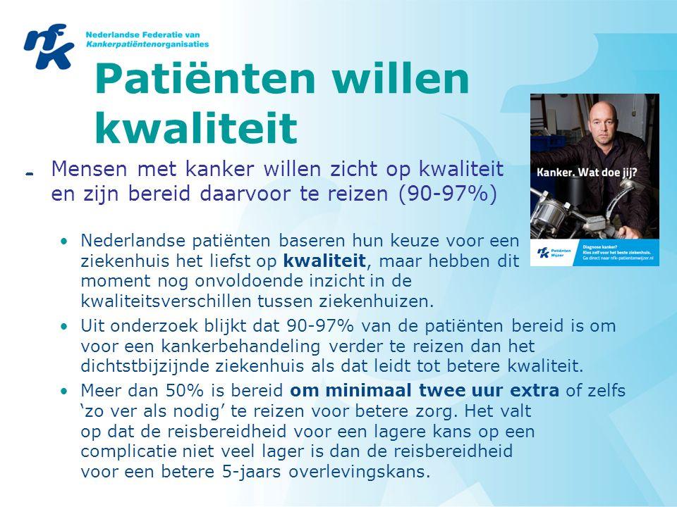 Patiënten willen kwaliteit Mensen met kanker willen zicht op kwaliteit en zijn bereid daarvoor te reizen (90-97%) Nederlandse patiënten baseren hun keuze voor een ziekenhuis het liefst op kwaliteit, maar hebben dit moment nog onvoldoende inzicht in de kwaliteitsverschillen tussen ziekenhuizen.