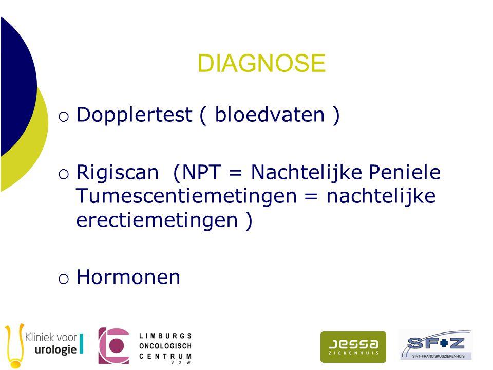 DIAGNOSE  Dopplertest ( bloedvaten )  Rigiscan (NPT = Nachtelijke Peniele Tumescentiemetingen = nachtelijke erectiemetingen )  Hormonen