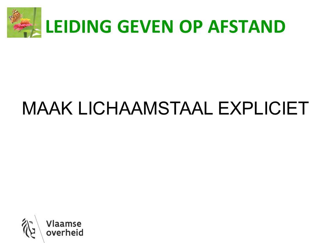 LEIDING GEVEN OP AFSTAND MAAK LICHAAMSTAAL EXPLICIET