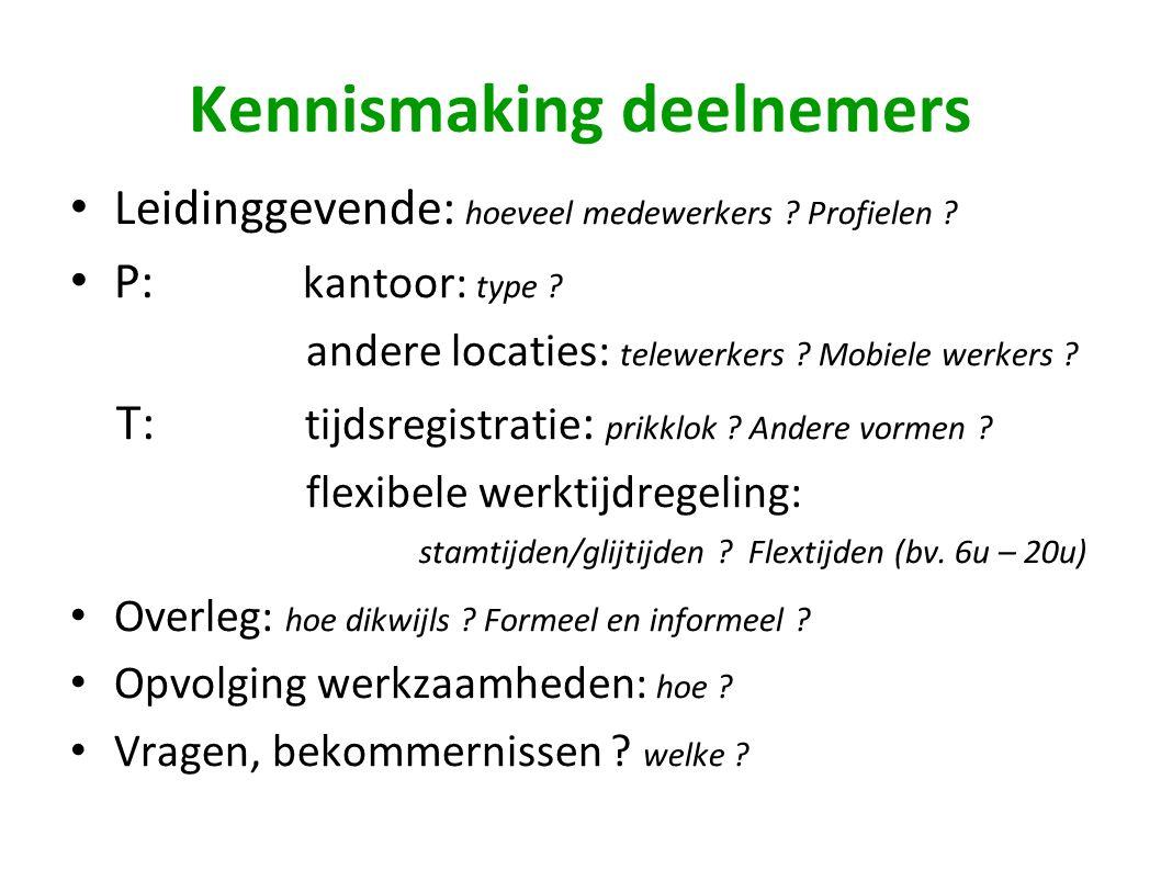 Kennismaking deelnemers Leidinggevende: hoeveel medewerkers ? Profielen ? P: kantoor: type ? andere locaties: telewerkers ? Mobiele werkers ? T: tijds