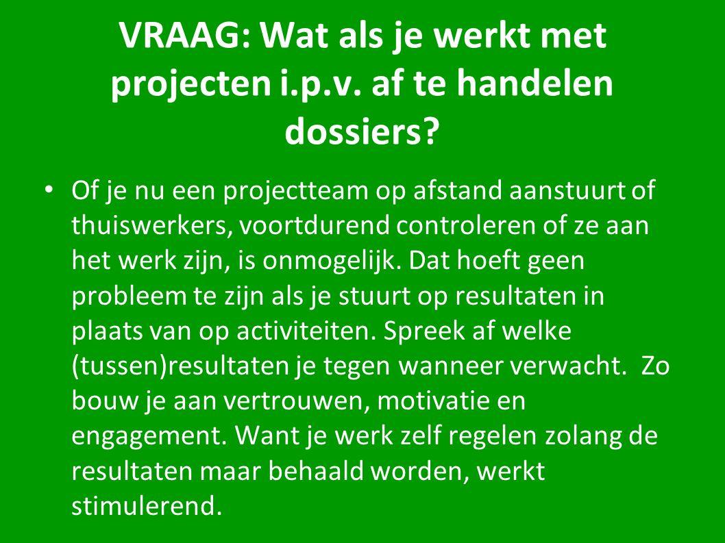 VRAAG: Wat als je werkt met projecten i.p.v. af te handelen dossiers? Of je nu een projectteam op afstand aanstuurt of thuiswerkers, voortdurend contr