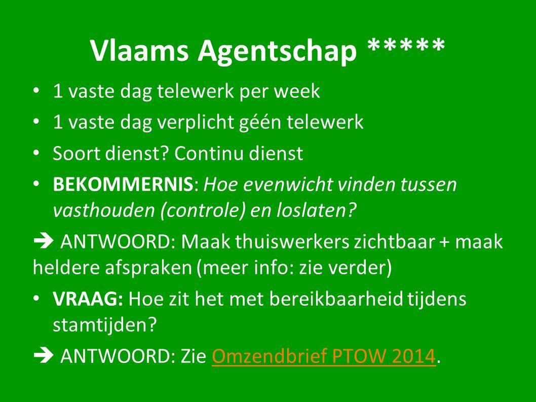 Vlaams Agentschap ***** 1 vaste dag telewerk per week 1 vaste dag verplicht géén telewerk Soort dienst? Continu dienst BEKOMMERNIS: Hoe evenwicht vind