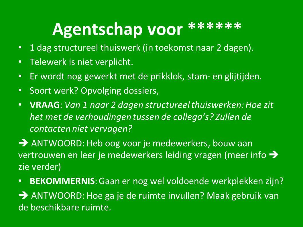 Agentschap voor ****** 1 dag structureel thuiswerk (in toekomst naar 2 dagen).