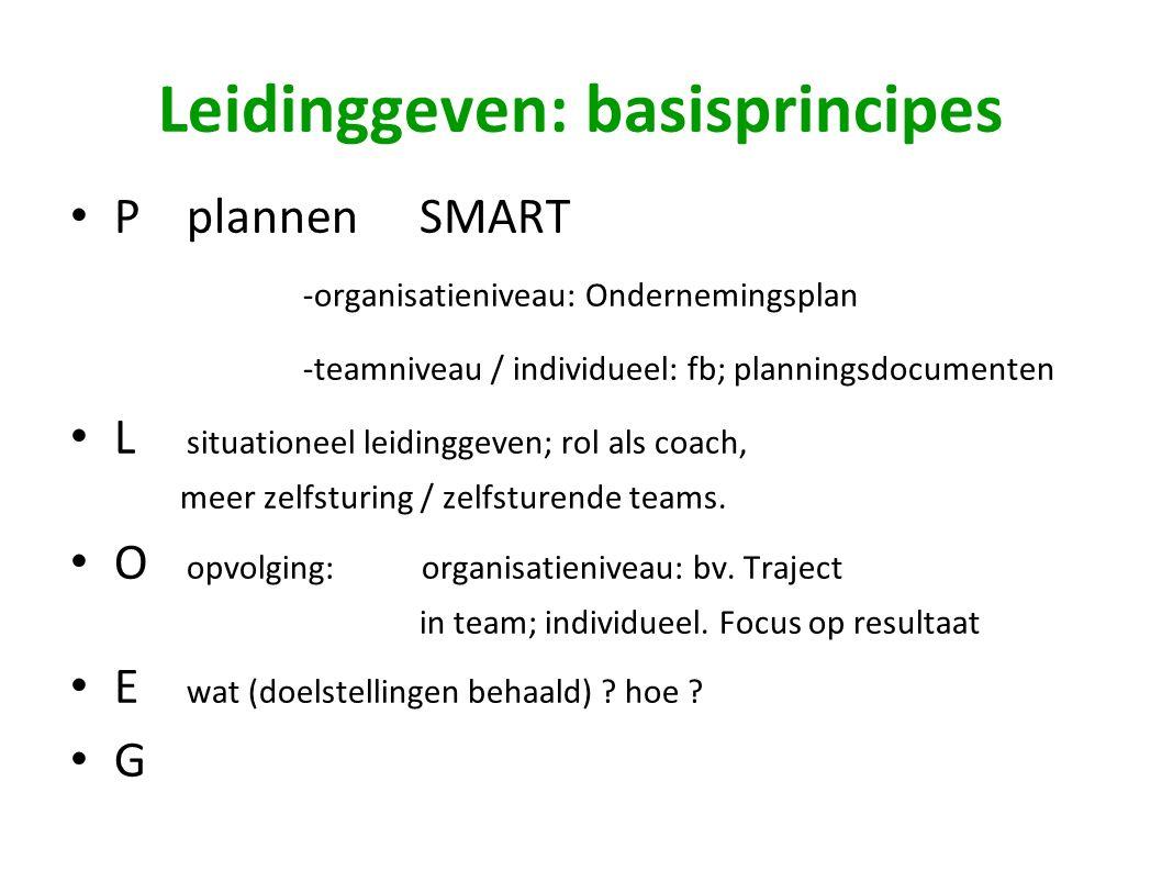 Leidinggeven: basisprincipes Pplannen SMART -organisatieniveau: Ondernemingsplan -teamniveau / individueel: fb; planningsdocumenten L situationeel leidinggeven; rol als coach, meer zelfsturing / zelfsturende teams.