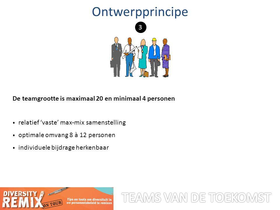 De teamgrootte is maximaal 20 en minimaal 4 personen relatief 'vaste' max-mix samenstelling optimale omvang 8 à 12 personen individuele bijdrage herkenbaar Ontwerpprincipe 3