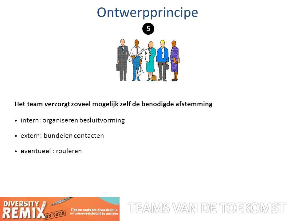Het team verzorgt zoveel mogelijk zelf de benodigde afstemming intern: organiseren besluitvorming extern: bundelen contacten eventueel : rouleren Ontwerpprincipe 5
