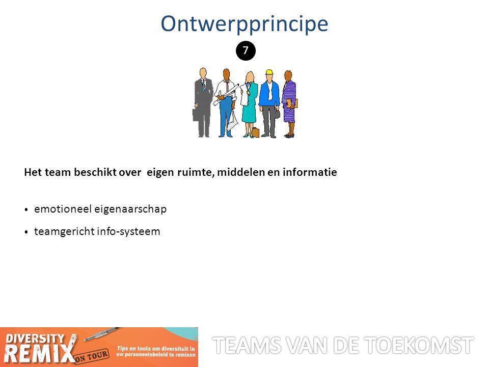 Het team beschikt over eigen ruimte, middelen en informatie emotioneel eigenaarschap teamgericht info-systeem Ontwerpprincipe 7