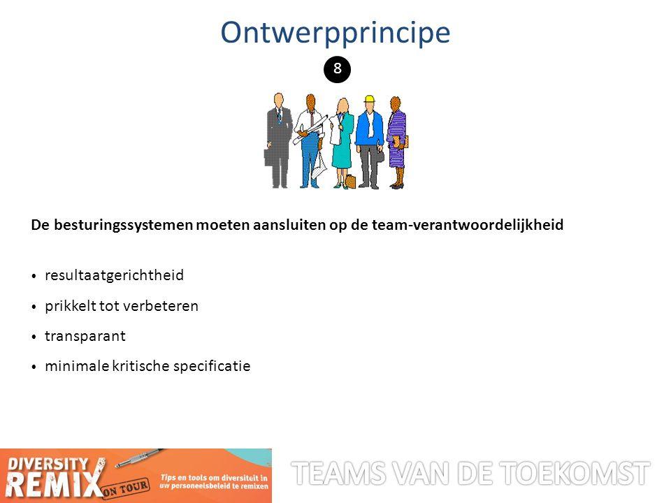De besturingssystemen moeten aansluiten op de team-verantwoordelijkheid resultaatgerichtheid prikkelt tot verbeteren transparant minimale kritische specificatie Ontwerpprincipe 8
