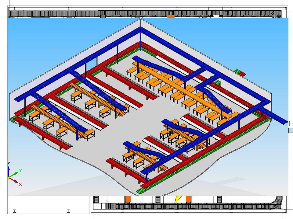 5 montagebanden montagetafels 2 rollenbanen boven elkaar bakjes komende van de magazijnautomaat