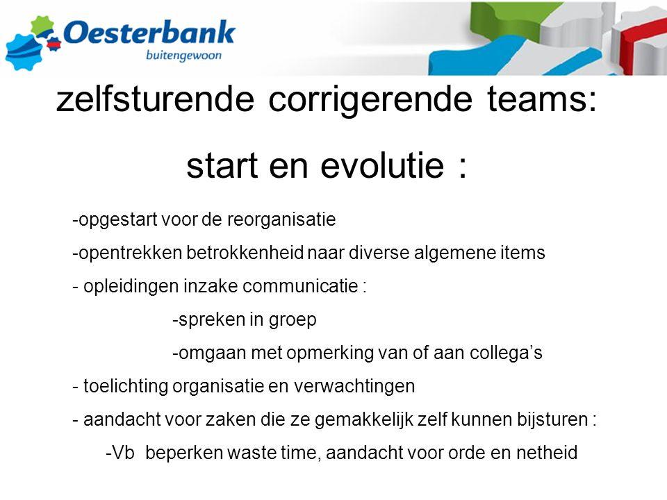 zelfsturende corrigerende teams: start en evolutie : -opgestart voor de reorganisatie -opentrekken betrokkenheid naar diverse algemene items - opleidi