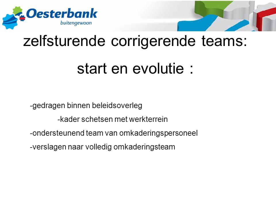 zelfsturende corrigerende teams: start en evolutie : -gedragen binnen beleidsoverleg -kader schetsen met werkterrein -ondersteunend team van omkaderingspersoneel -verslagen naar volledig omkaderingsteam
