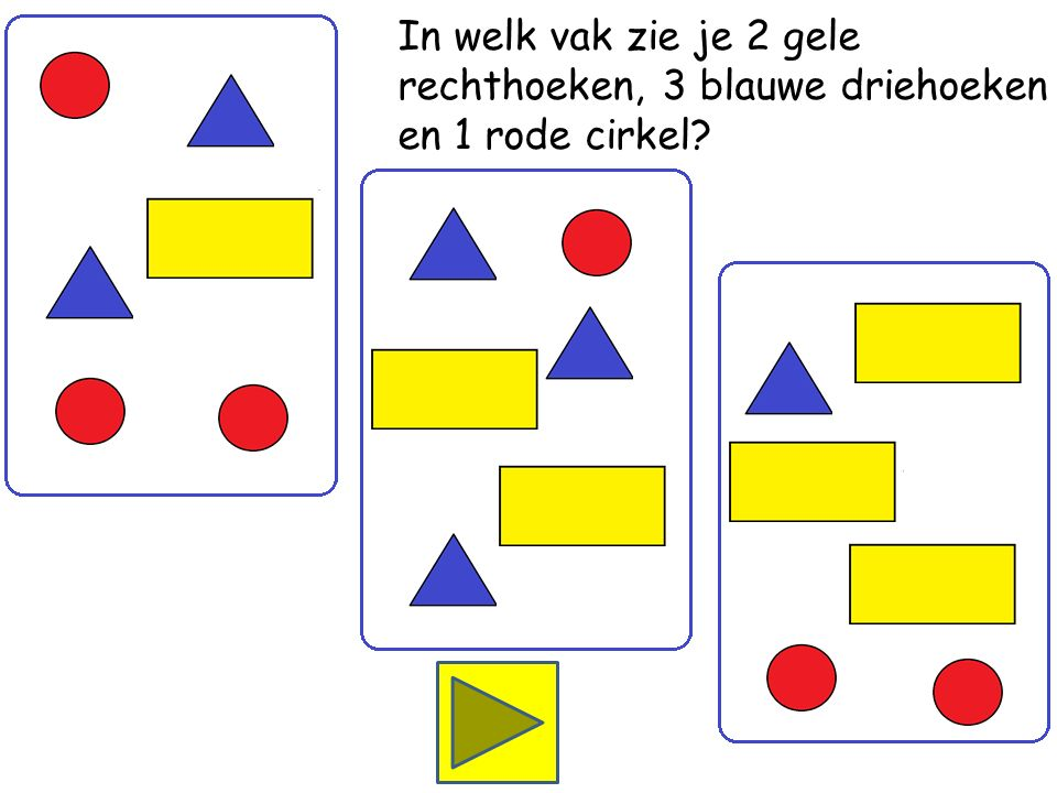 In welk vak zie je 3 gele rechthoeken, 1 blauwe driehoek en 2 rode cirkels