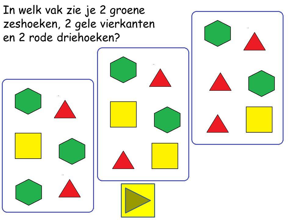 In welk vak zie je 2 groene zeshoeken, 1 geel vierkant en 3 rode driehoeken